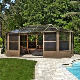 lowes bathroom remodel ideas shop gazebo penguin brown aluminum octagon screened gazebo