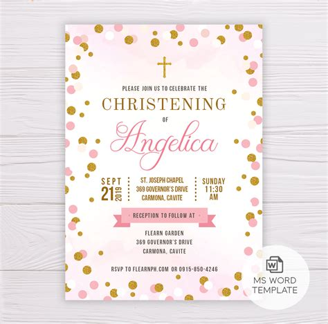 Pink & Gold Dots Christening/Baptism Invitation Template