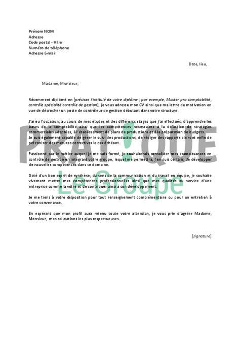 cabinet controle de gestion lettre de motivation pour un emploi de contr 244 leur de gestion d 233 butant pratique fr