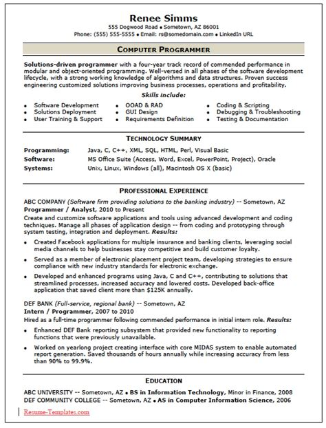 free skilled computer programmer resume template sle