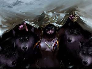 #anime girls, #wolves, #original characters, #feathers ...