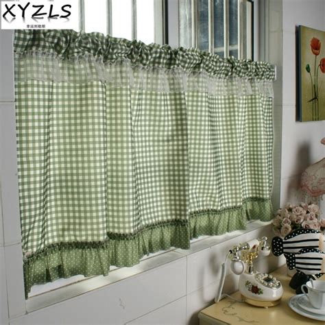 xyzls green plaid blinds kitchen curtains cafe curtain