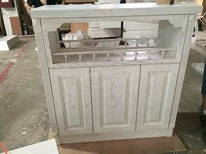 White Paint Finish Red Oak Solid Wood Kitchen Cabinet