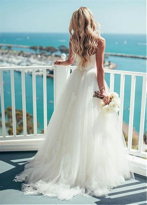 simple beach wedding dresses spaghetti straps ivory lace