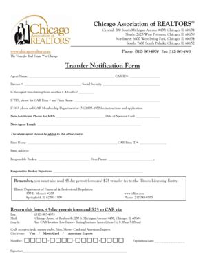 illinois association of realtors forms fillable online transfer notification form chicago