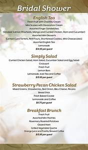 Bridal shower menu selections grace church for Wedding shower menus