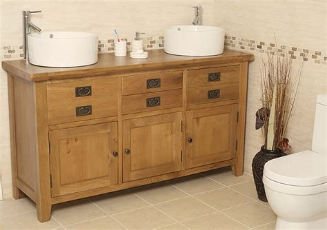 % Off Traditional Oak Double Vanity Unit With Basin