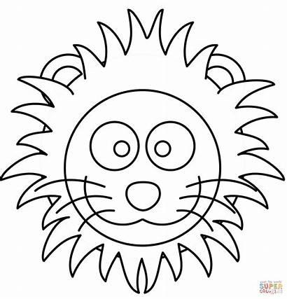 Lion Coloring Head Cartoon Face Pages Lions