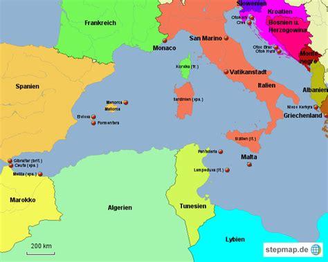 westliches mittelmeer von baurob landkarte fuer das