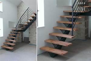 Marche D Escalier En Chene : s lection d 39 escaliers en m tal avec marches en bois sur mesure ~ Melissatoandfro.com Idées de Décoration