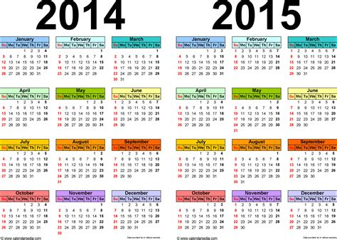 2014 Year Calendar Template by 2014 2015 Calendar Free Printable Two Year Pdf Calendars