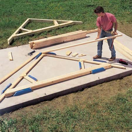 Pre Made Shed Trusses by Tips For Building A Storage Shed The Family Handyman