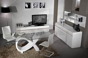 Ensemble Salon Sejour : ensemble salon s jour blanc laqu brillant cbc meubles ~ Teatrodelosmanantiales.com Idées de Décoration