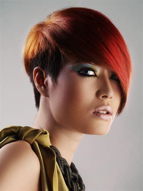 red asian hair    short neck   long fringe