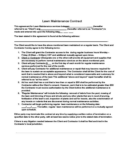 lawn care contract template fillable printable