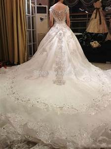 daw1444 free shipping luxury v neck ball gown long train With church wedding dresses