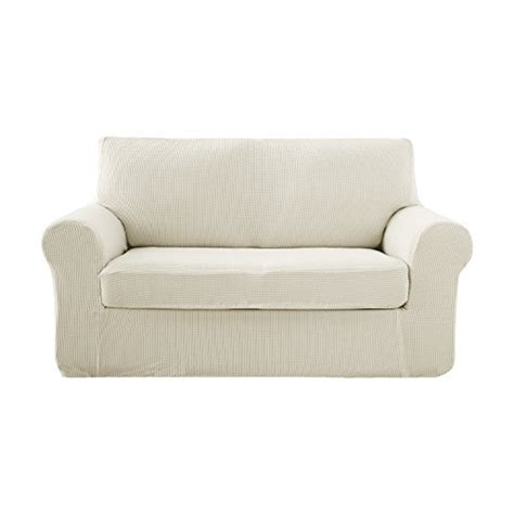 Small White Loveseat by Deconovo Jacquard Stretch Solid Color Small Checked White