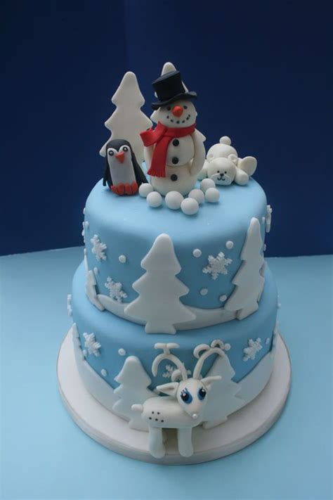 winter themed cakes winter themed  tiered chocolate