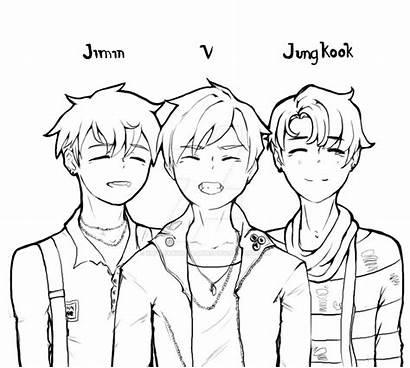 Bts Outline Line Coloring Jimin Jungkook Maknae