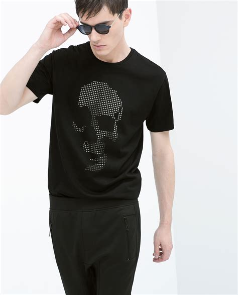 zara cut out skull t shirt in black for lyst