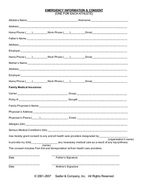 emergency medical consent form  printable documents