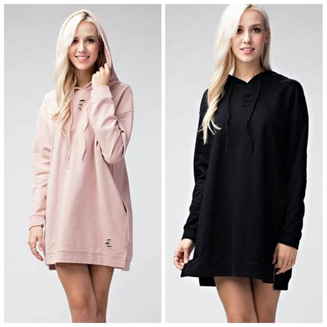 Women distressed Long sleeve Hoodie Sweatshirt Dress Pullover Pockets Sweater   eBay
