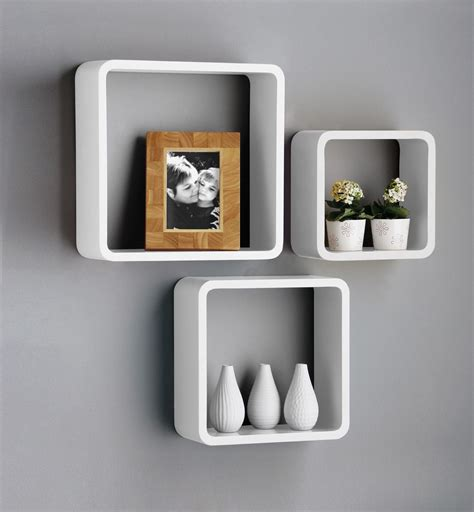 Square Shelves by New Set Of 3 White Black Square Floating Cube Wall