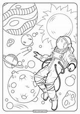 Astronaut Coloring Pages Space Printable Pdf sketch template
