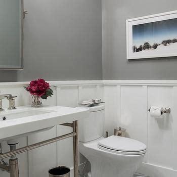 board  batten powder room transitional bathroom