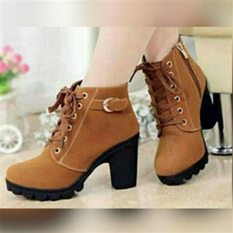 flat boot hitam sepatu boot wanita bahan suede hitam coklat