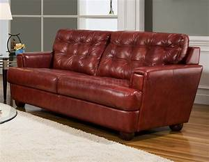 burgundy tufted top grain leather modern sofa w options With burgundy leather sofa bed