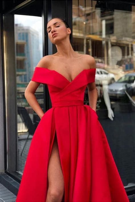 A-Line Off-the-Shoulder Long Prom Dress Formal Evening ...