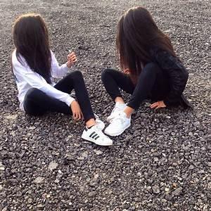 adidas, bestfriends, bff, black, bw - image #3778490 by ...