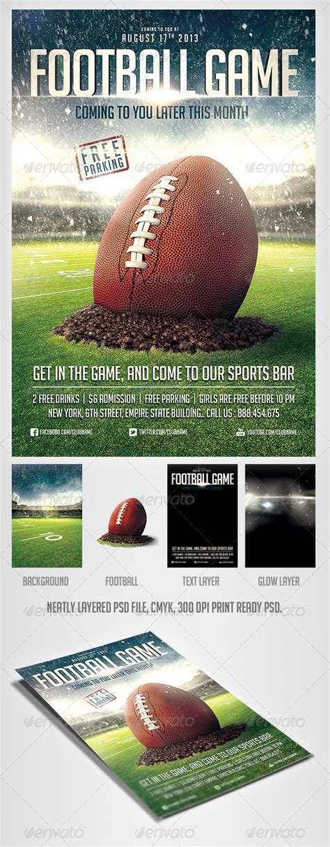 ticket template gameday football game flyer template events sports and flyer