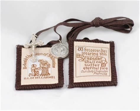 brown scapular  crucifix st ben medal