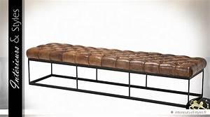 Bout De Lit Capitonné : grand bout de lit en cuir tabac capitonn support m tal ~ Melissatoandfro.com Idées de Décoration