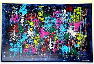 Tableau Moderne Coloré : tableau moderne abstrait color tableau contemporain abstrait peinture acrylique format 70 x ~ Teatrodelosmanantiales.com Idées de Décoration