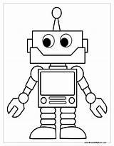 Robot Coloring Robots Craft sketch template