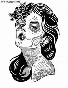 Sugar Skull Girl Coloring Pages | Sugar Skull Coloring ...