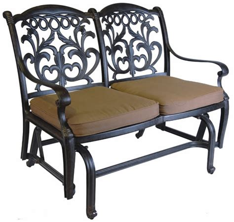 patio furniture glider bench cast aluminum valencia