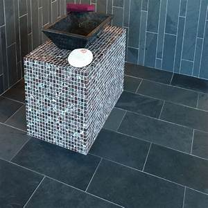 carrelage salle de bain ardoise - dalles carrelage ardoise noire 60x30 indoor by capri