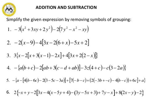 Addition And Subtraction Of Polynomials Powerpoint  Adding And Subtracting Fractions With Like