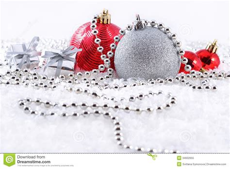 silver  red christmas decorations stock image image