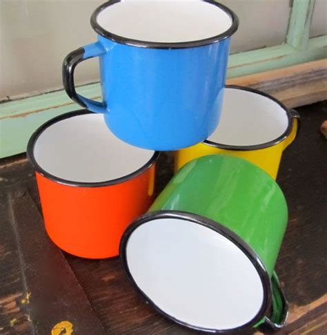 set   french enamel mugs vintage enamelware rustic