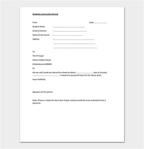 leave request letter templates format sample letters