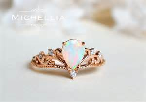 opal engagement ring vintage pear opal engagement ring 14k 18k solid gold