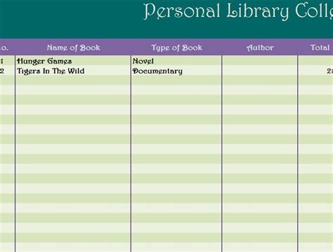 personal library collection  excel templates