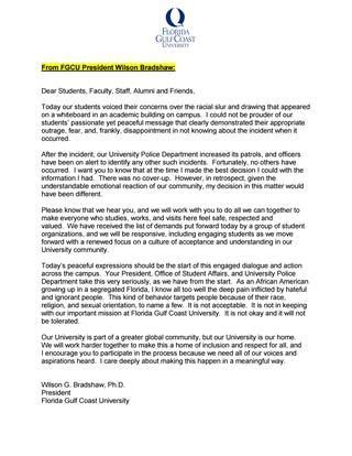 fgcu cover letter fgcu president bradshaw message and letter 102816 by