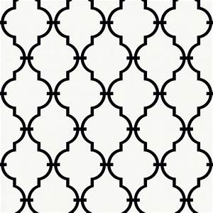 Black Trellis / Lattice on Sure Strip White Wallpaper ...
