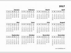 2017 Yearly Calendar Blank Minimal Design Free Printable